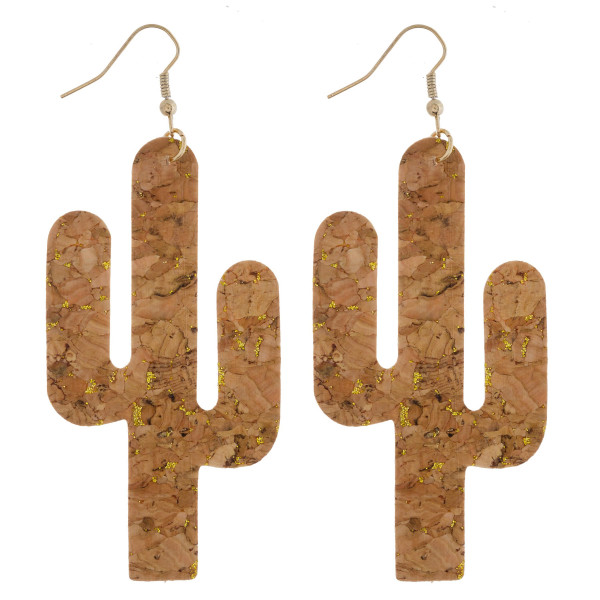 """Long cork earring with cactus shape. Approximate 3"""" in length."""