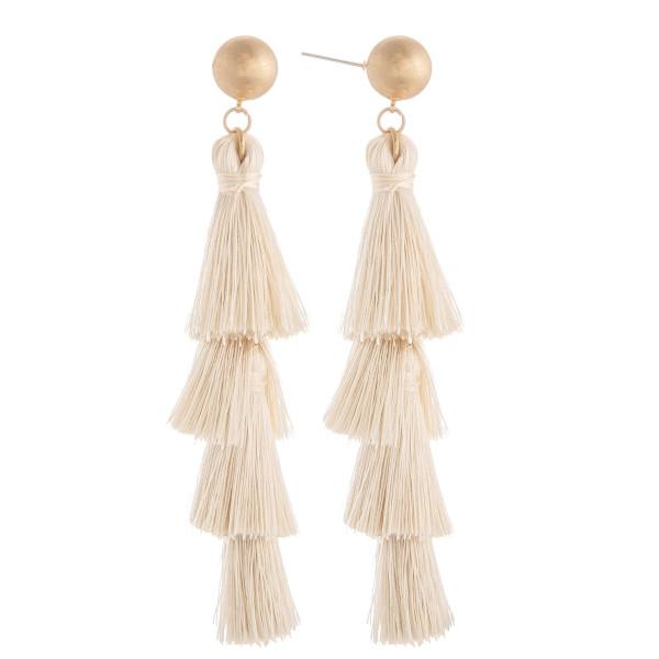 Wholesale long tassel earring gold post Approximate
