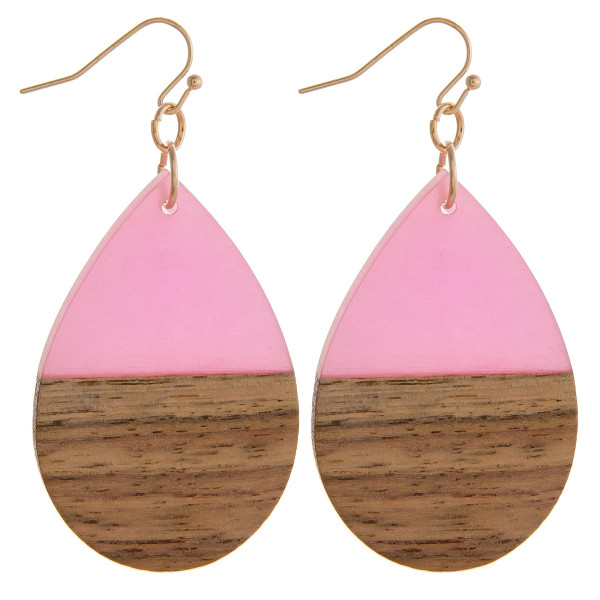 """Teardrop earrings featuring fuchsia resin and wood accents. Approximately 1.5"""" in length."""