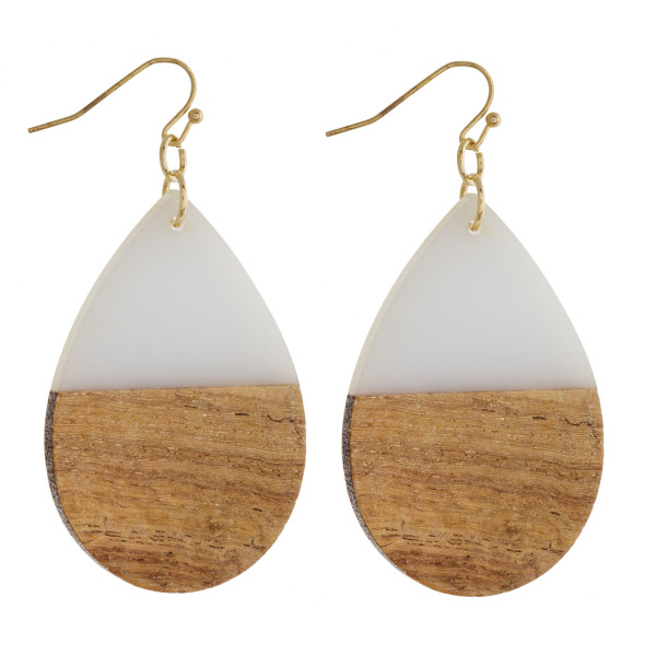 "Teardrop earrings featuring grey resin and wood accents. Approximately 1.5"" in length."
