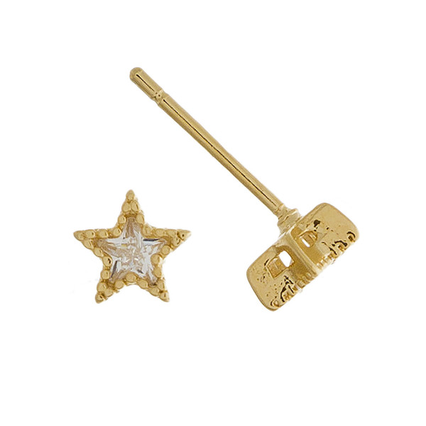 Small stud star earrings with rhinestones. Approximate 1cm in length.