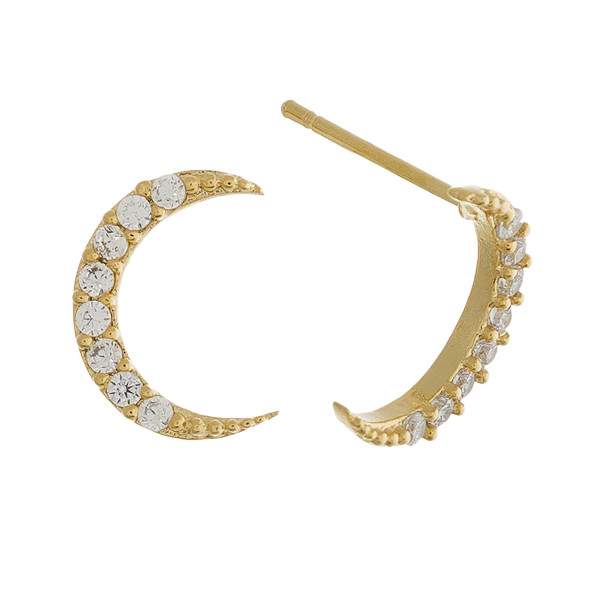 Grab these gorgeous moon stud earrings with rhinestones. Approximate 1cm.