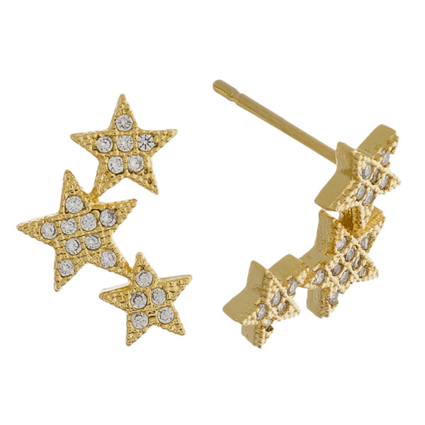 Metal star ear climbers with rhinestones. Approximate .5 in length.