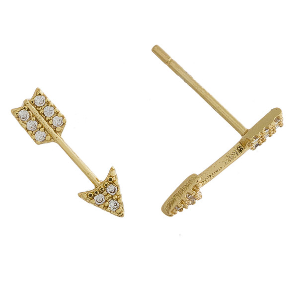 Metal earrings with arrow shape and rhinestones. Approximate 1cm in length.
