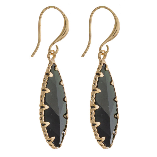 """Dainty earrings featuring an iridescent stone and gold metal accents. Approximately 1"""" in length."""