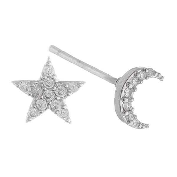 Stud star/moon earrings with rhinestones. Approximate 1cm.