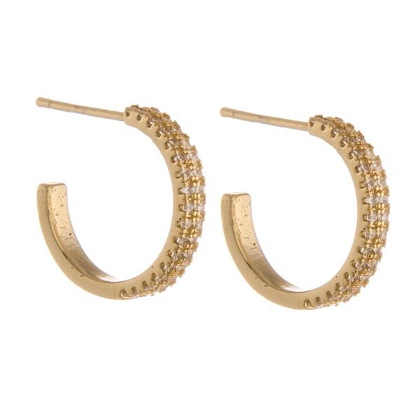 """Hoop earrings with rhinestones. Approximate 1"""" in length."""
