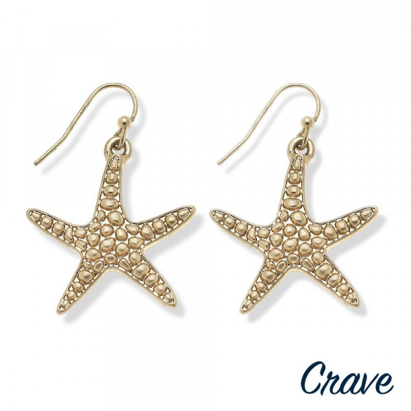 "Long metal star fish shaped  earrings. Approximate 1.5"" in length."