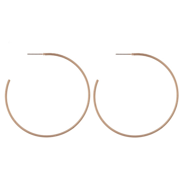 "Large dainty metal open hoop earrings. Approximately 2.5"" in diameter."