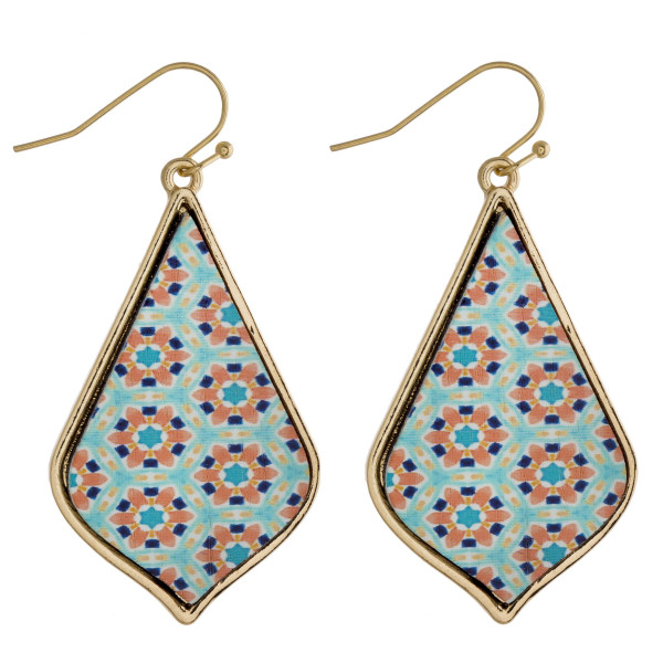 """Long wooden drop earrings featuring a light blue flower inspired pattern. Approximately 2"""" in length."""