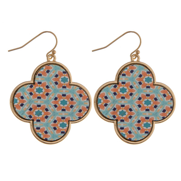 "Wood quatrefoil drop earrings featuring a mint pattern. Approximately 1.5"" in length."