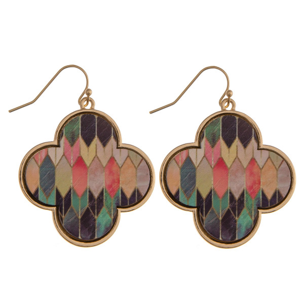 "Wood quatrefoil drop earrings featuring a multicolor pattern. Approximately 1.5"" in length."