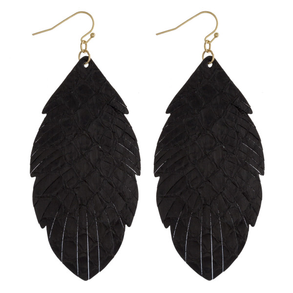 "Faux leather feather inspired drop earrings featuring black alligator skin. Approximately 3"" in length."