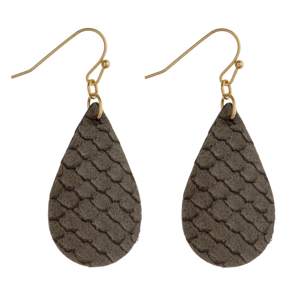 "Faux leather teardrop earrings featuring snakeskin details. Approximately 1"" in length."