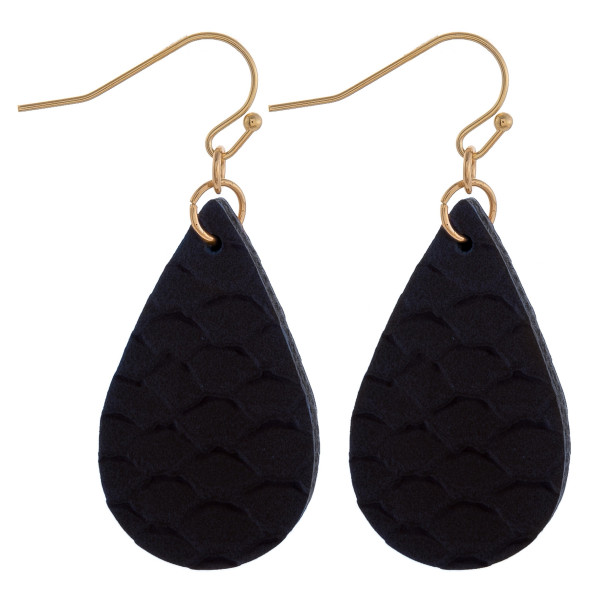 "Teardrop earrings featuring a navy fish scale pattern. Measure approximately 1"" in length."