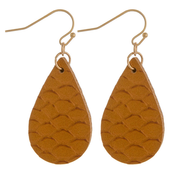 "Teardrop earrings featuring a yellow fish scale pattern. Measure approximately 1"" in length."