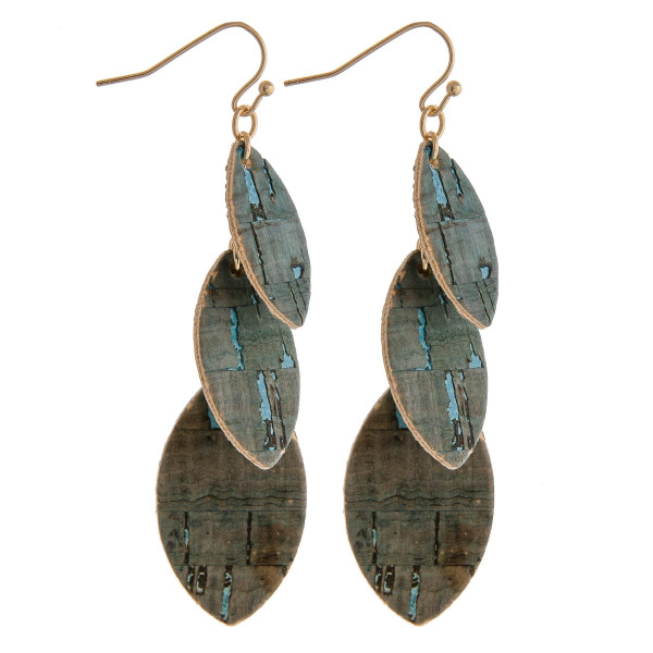 """Trio faux leather feather inspired cork drop earrings. Approximately 3"""" in length."""