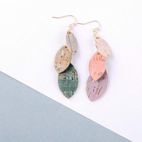 "Trio layered pointed oval drop earrings with cork inspired details. Approximately 3"" in length."
