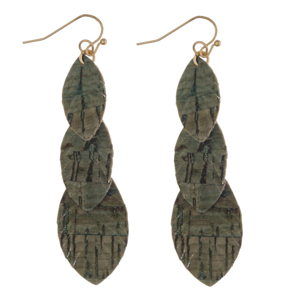 """Trio layered feather drop earrings with cork inspired details. Approximately 3"""" in length."""