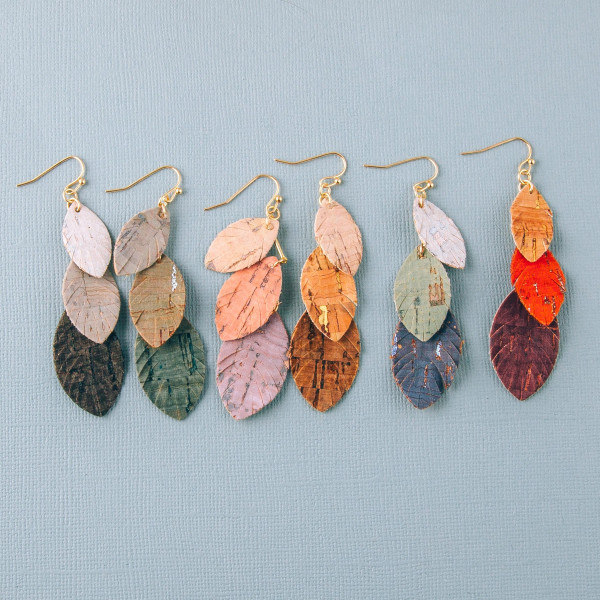 """Cork inspired earrings featuring trio feather accents. Approximately 2.5"""" in length."""