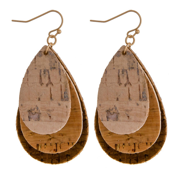 """Cork inspired earrings featuring trio teardrop accents. Approximately 2"""" in length."""