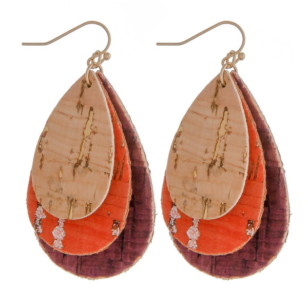 "Cork inspired earrings featuring trio teardrop accents. Approximately 2"" in length."