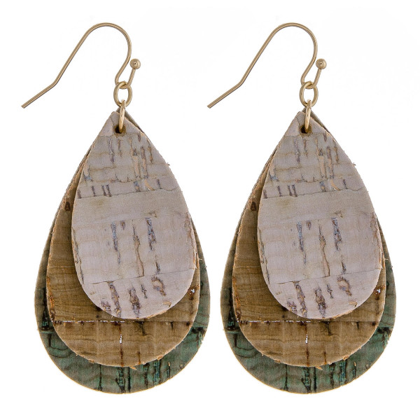 "Trio layered cork inspired teardrop earrings. Approximately 2"" in length."