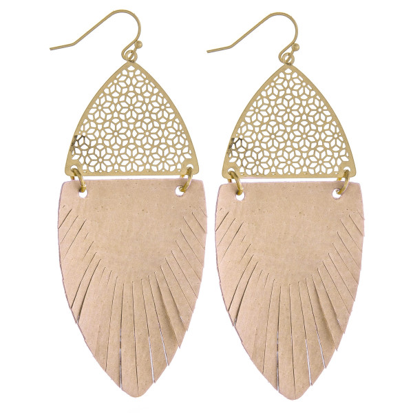 "Long drop earrings featuring beige feather-shaped fabric and gold metal accents. Approximately 3"" in length."