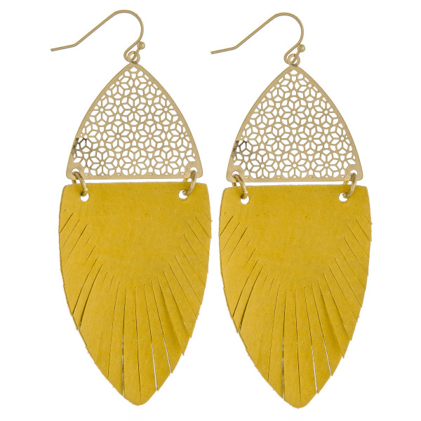 "Long drop earrings featuring yellow feather-shaped fabric and gold metal accents. Approximately 3"" in length."