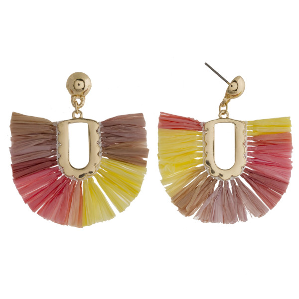 "Drop earrings featuring raffia tassel details and gold accents. Approximately 1.5"" in length."