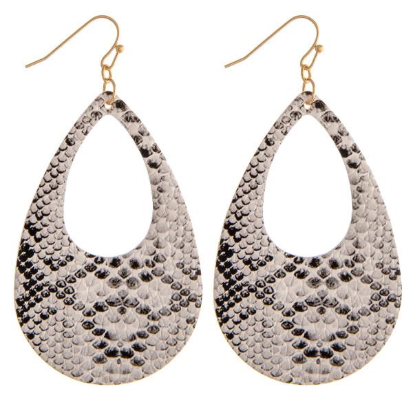 """Faux leather snakeskin teardrop earrings. Approximately 3"""" in length."""