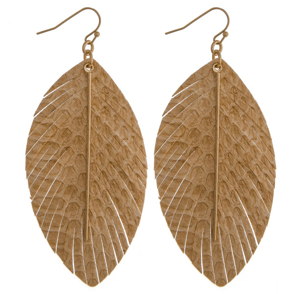 """Faux leather feather inspired earrings featuring snakeskin details with a gold bar accent. Approximately 3.5"""" in length."""