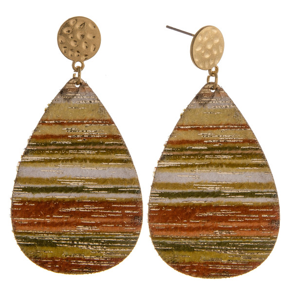 """Green multicolor genuine leather teardrop earrings featuring gold metallic accents with a stud post. Approximately 2.5"""" in length."""