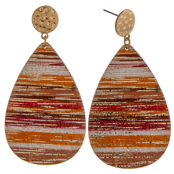"""Orange multicolor genuine leather teardrop earrings featuring gold metallic accents with a stud post. Approximately 2.5"""" in length."""