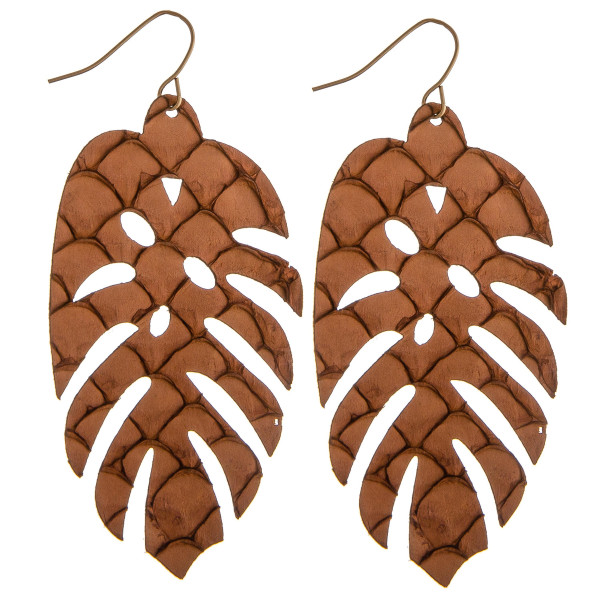 Wholesale long genuine leather leaf earrings scale details