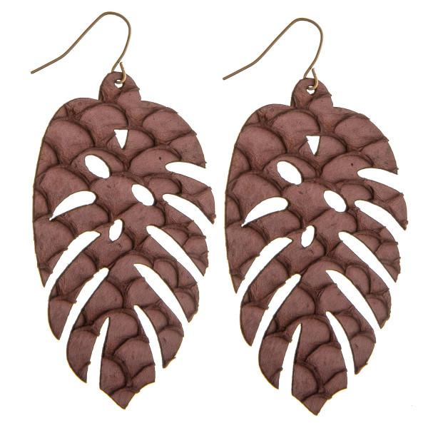 Wholesale long genuine leather leaf earrings scale details
