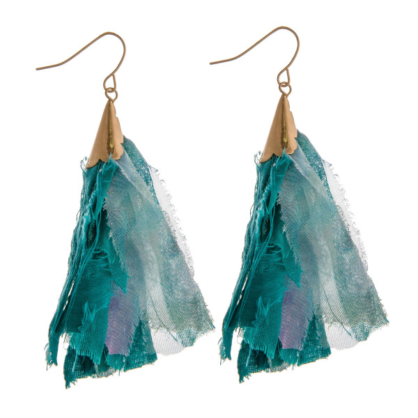 "Long drop earrings featuring green fabric tassel accents. Approximately 2.75"" in length."