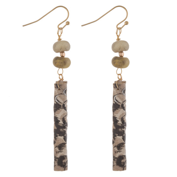 """Faux leather wrapped bar earrings featuring snakeskin details and natural stone accents. Approximately 2.5"""" in length."""