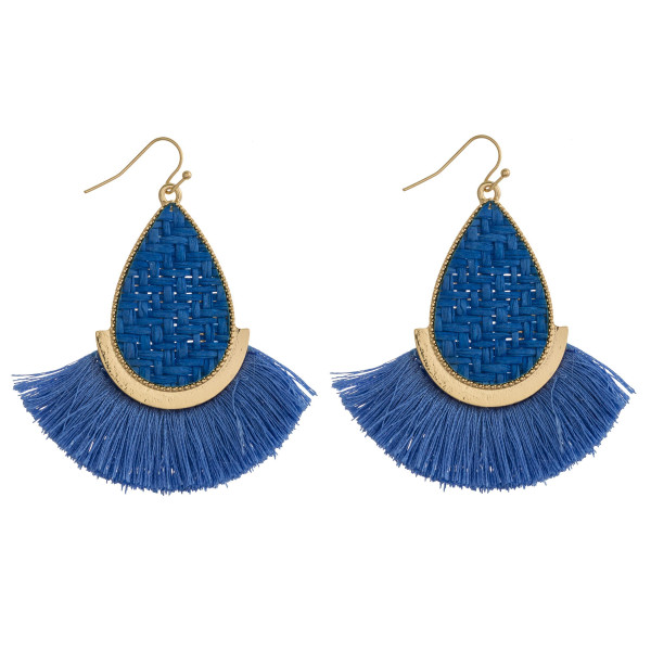 """Rattan woven teardrop earrings featuring tassel details and gold metal accents. Approximately 2.5"""" in length."""