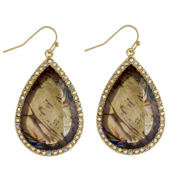 "Teardrop earrings featuring a abalone inspired natural stone and rhinestone details. Approximately 1.5"" in length."
