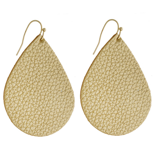 "Solid gold faux leather teardrop earrings. Approximately 2"" in length."