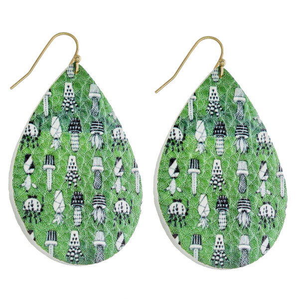 """Faux leather teardrop earrings featuring a cactus inspired print. Approximately 2"""" in length."""