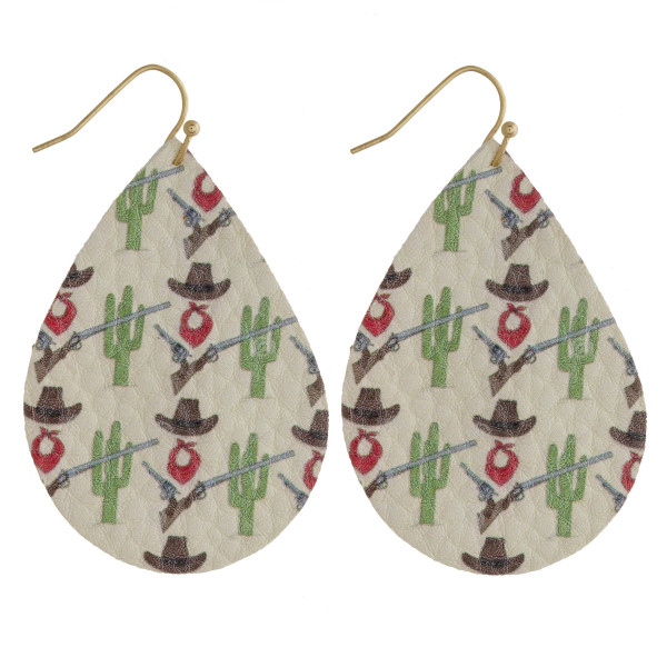 "Faux leather teardrop earrings featuring a cactus inspired print. Approximately 2"" in length."