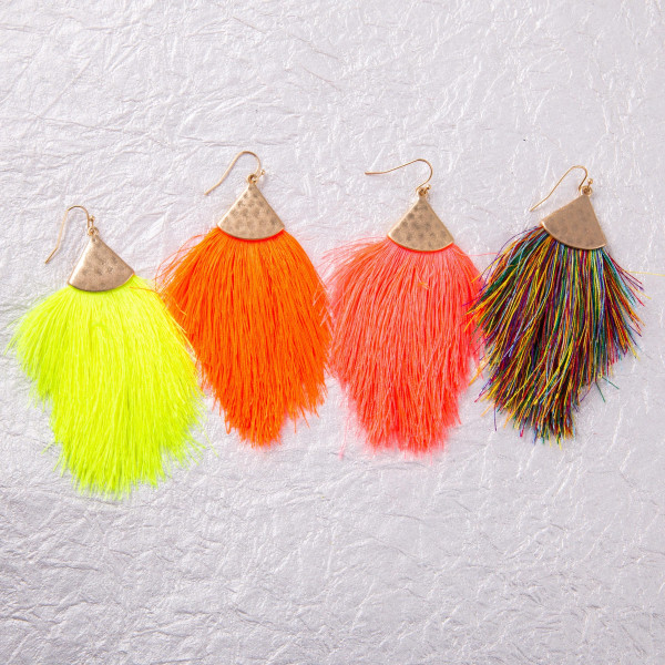 """Long drop earrings featuring neon tassel details and gold metal accents. Approximately 3.5"""" in length."""