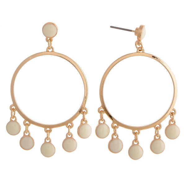 "Gold metal circular earrings featuring acrylic colored accents with a stud post. Approximately 1.75"" in length."