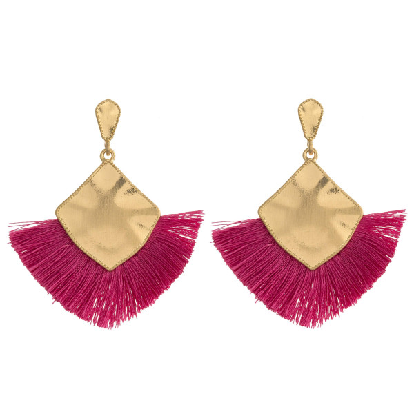 "Long gold metal plated earrings featuring tassel accents and a stud post. Approximately 2"" in length."