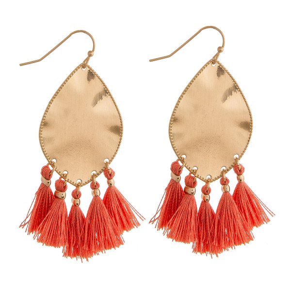"Metal plated drop earrings featuring coral tassel accents. Approximately 2"" in length."