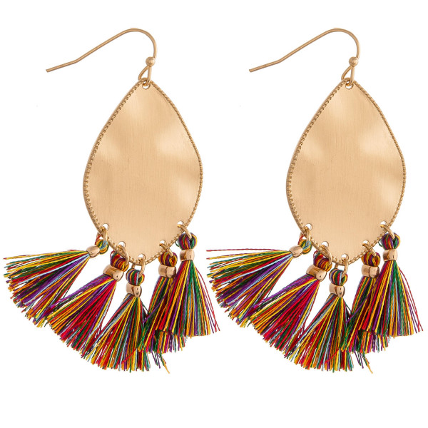 "Metal plated drop earrings featuring multicolor tassel accents. Approximately 2"" in length."