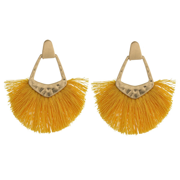 """Gold metal earrings featuring tassel accents and a stud post. Approximately 2"""" in length."""