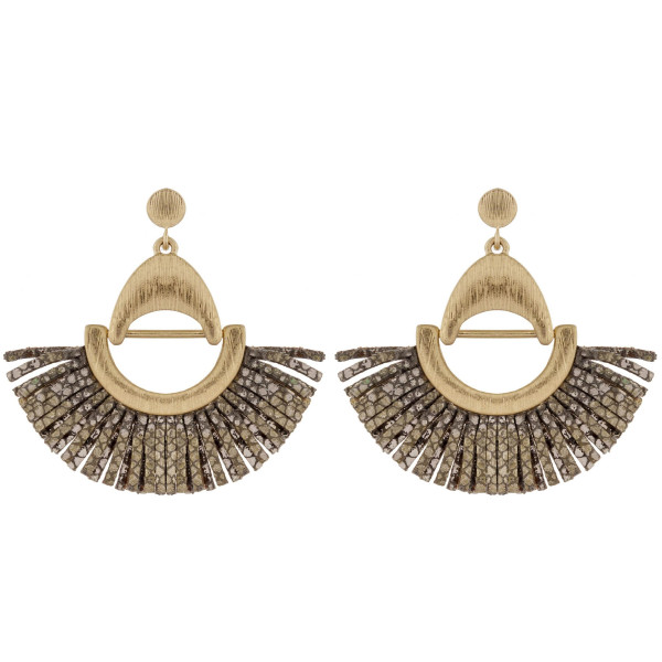 """Faux leather earrings featuring metallic snakeskin tassel details and gold metal accents. Approximately 2"""" in length."""